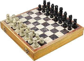 Shalinindia Rajasthan Stone Art Unique Chess Sets and Board Box (Small, 25.4x25.4cm)