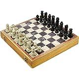 Jeu d'échecs unique - Pièces et échiquier en pierres - Intérieur de la boîte en mousse et en satin - Fabriqué artisanalement au Rajasthan - Cadeau culturel de l'Inde