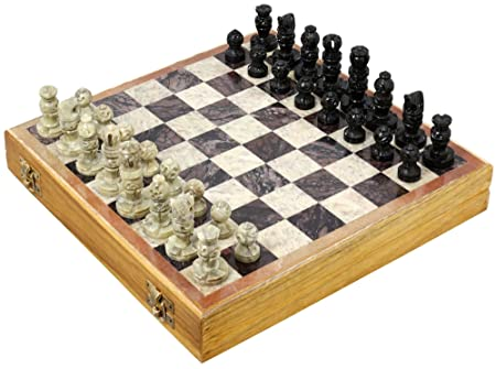 Captivating Rajasthan Stone Art Unique Chess Sets And Board Box, Small 25.4 X 25.4 Cm