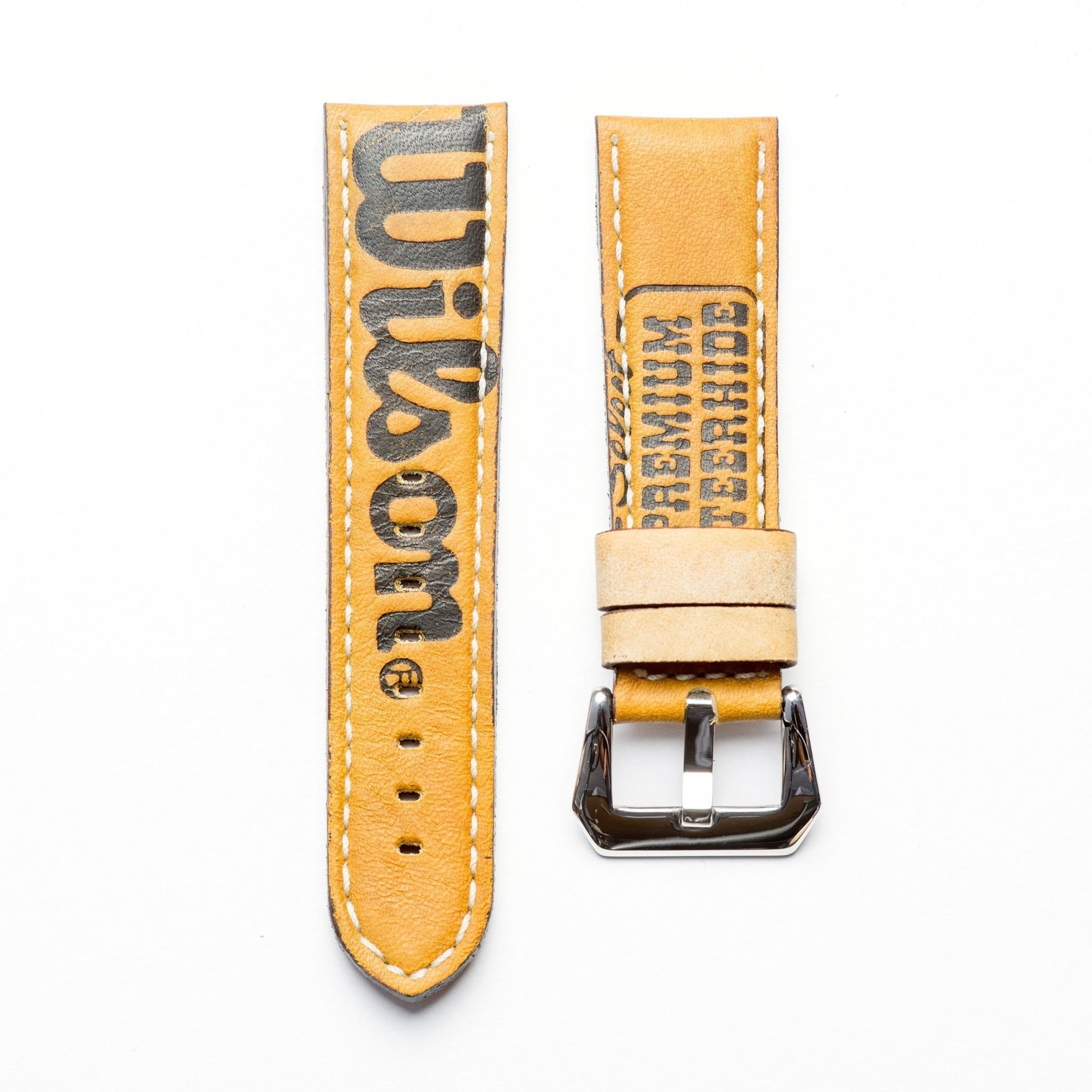 Baseball Leather Watch Strap - Limited Edition (24mm, Yellow Gold Polished) by Milano Straps (Image #2)