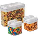 3 pc. Set Clear Food Containers w Airtight Lids Canisters for Kitchen and Pantry Storages