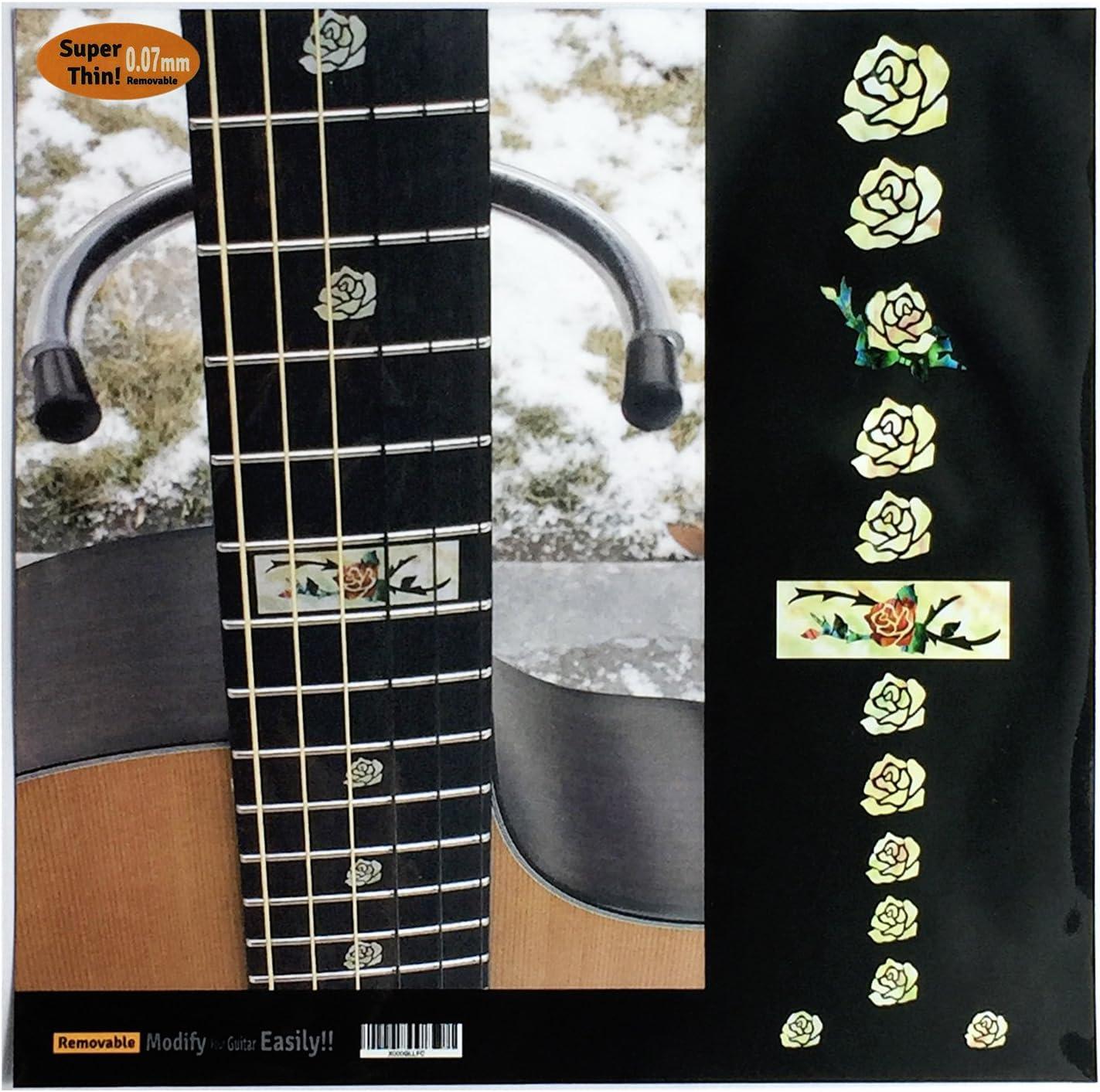 Pegatinas adhesivas para guitarra y bajo con incrustaciones de diapasón, color rosa