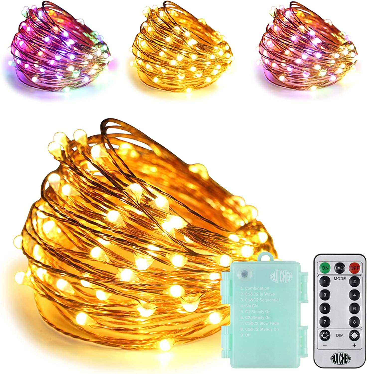 RUICHEN LED String Lights Battery Powered,33Ft 100LED Multi Color Changing Fairy Lights with Remote Waterproof Copper Wire Starry Light for Outdoor Garden Wedding Party Patio(Warm White&Multi Color)