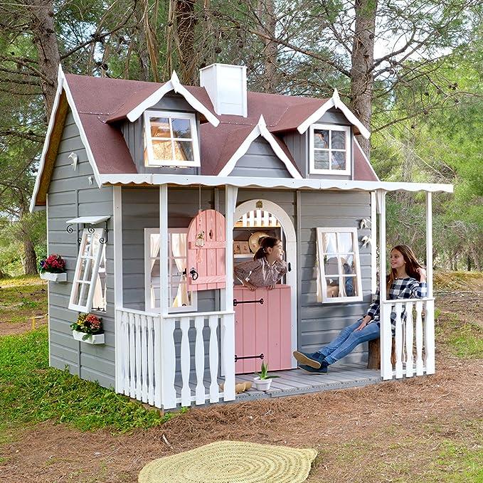 Green House Casita de Madera para Niños con Porche Cubierto Baden: Amazon.es: Juguetes y juegos