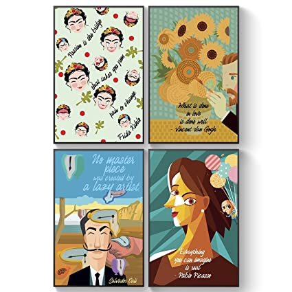 Pillow Toast Set Of Four Famous Artists Quotes Posters Picasso Salvador