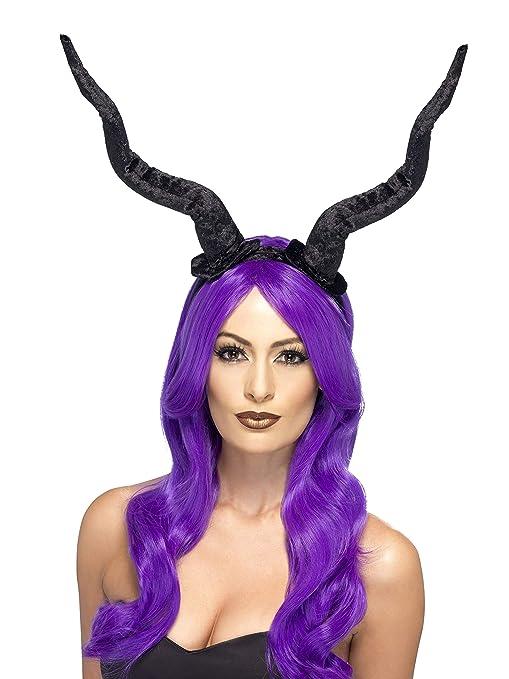 Smiffys Diadema con cuernos de demonio, Negra, Flexible