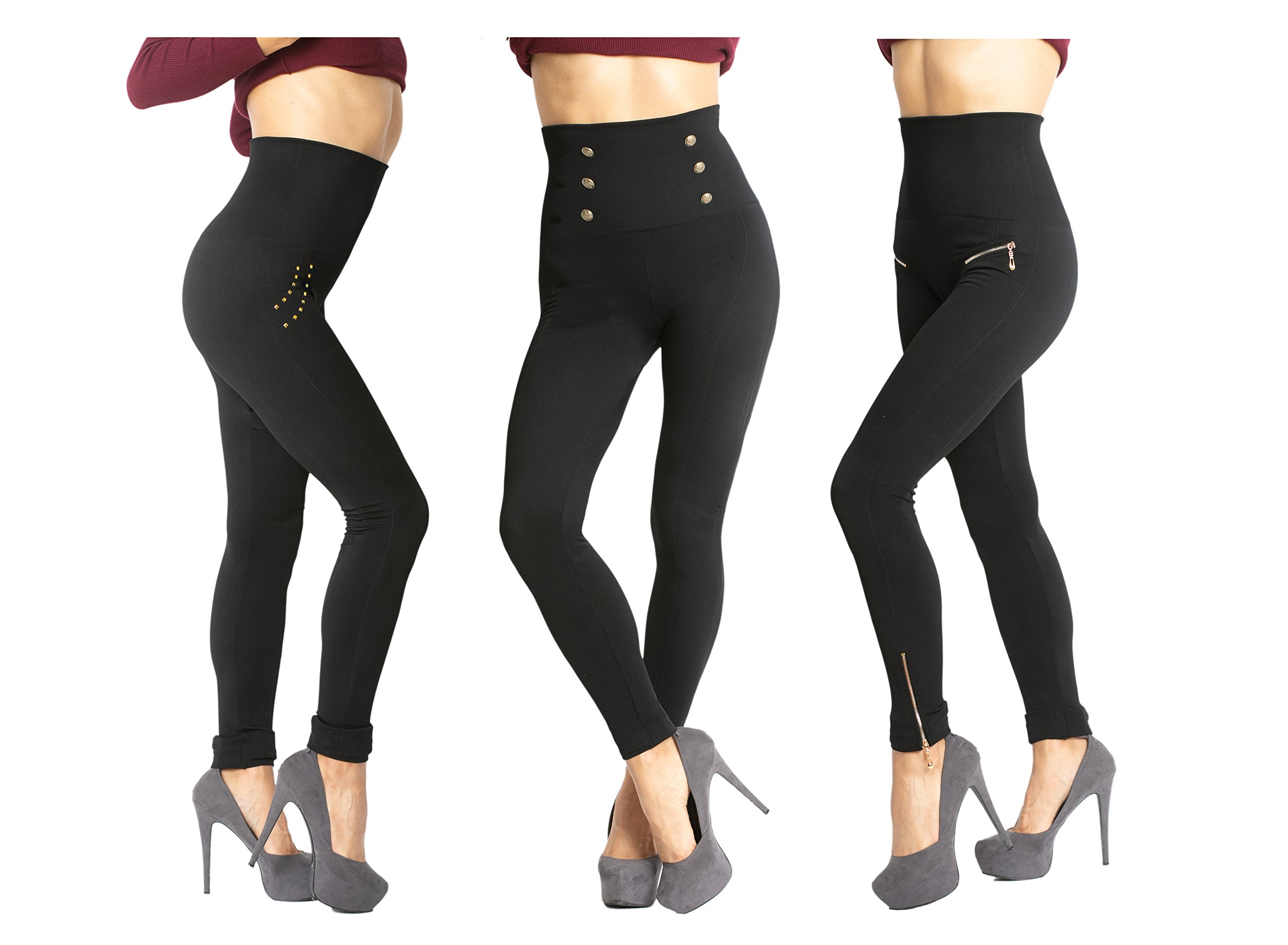 Womens Tummy Control High Waisted Elegant Evening Leggings - 3 Pair Pack Box Set,Black,Plus size 12-24