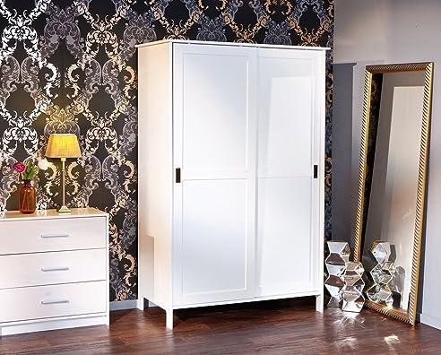 Kleiderschrank schiebetüren weiß  esidra Bellingham Kleiderschrank 2 Schiebetüren, Holz, Weiß, 120 x ...