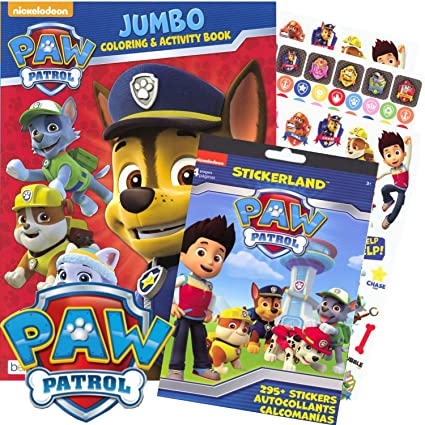 Amazon.com: PAW Patrol Coloring Book and Stickers - 295 Stickers! by ...