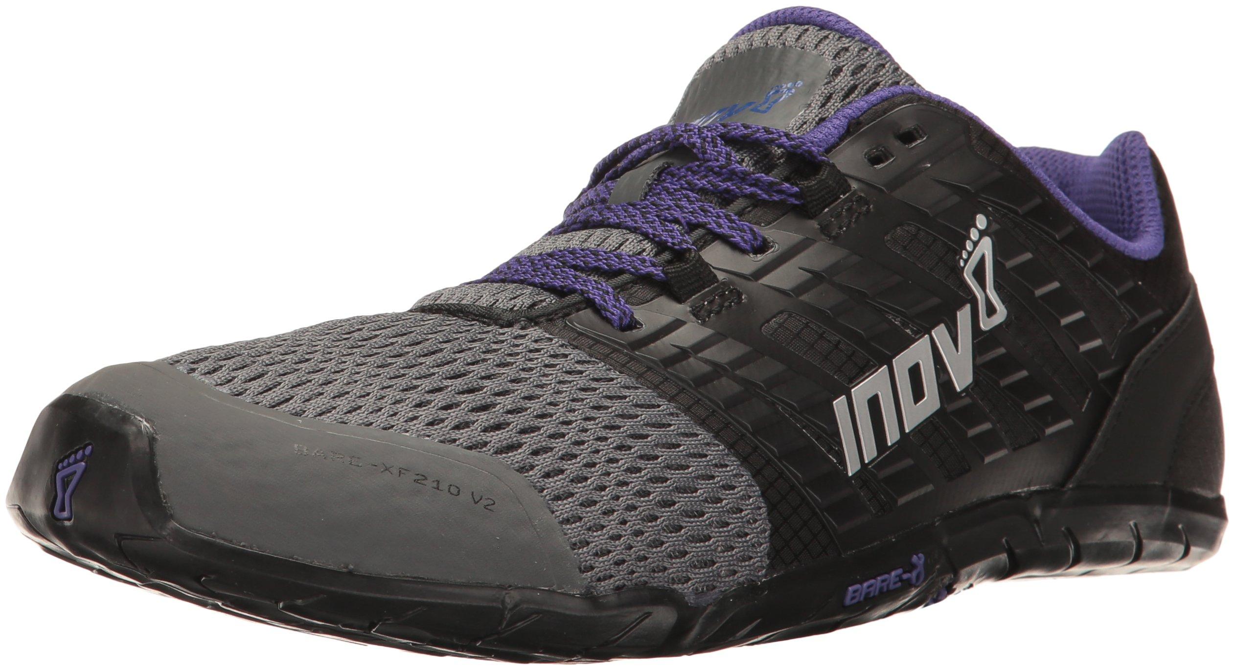 inov-8 Women's Bare-XF 210 v2 (W) Cross-Trainer-Shoes, Grey/Black/Purple, 6.5 B US