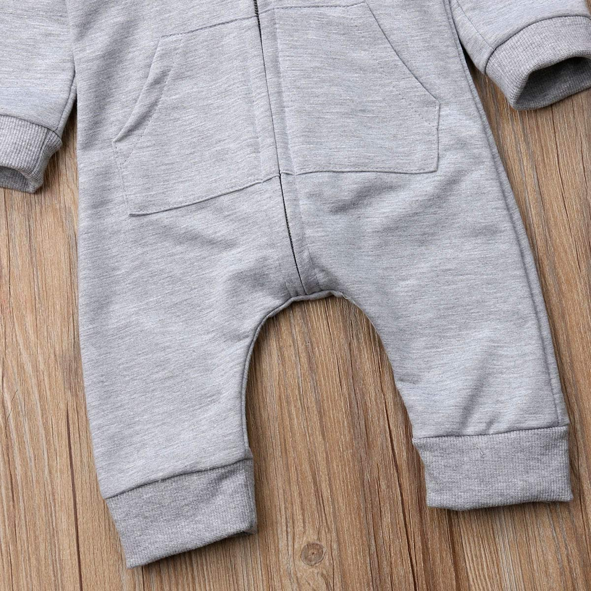 WakeUple Newborn Infant Unisex Baby Cartoon Shark Long Sleeve Hoodie Jumpsuit Bodysuit Romper Zipper Onesie Outfit