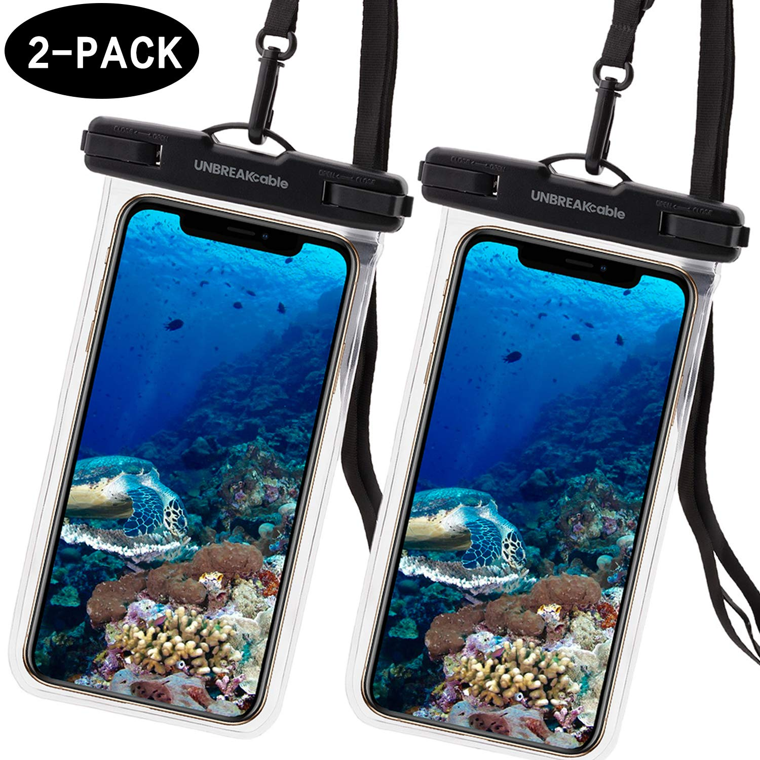 UNBREAKcable Universal Waterproof Case 2 Pack - IPX8 Waterproof Phone Pouch Dry Bag for iPhone Xs Max XR XS X 8 7 6s 6 Plus, Samsung S10+ S10 S10e S9 S8, Google Pixel 2, Up to 6.6 inch
