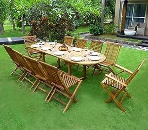 Conjunto de mesa y sillas de jardín para 8 personas 10 sillas, 2 sillones plegables.: Amazon.es: Jardín