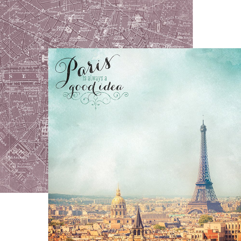 Paper House Productions P-2064E Paris is Always a Good Idea France Double-Sided Cardstock, 12'' by 12'', Multicolor (15 Pack)