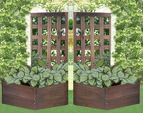2x Leco Massiv Holz Rankhilfe Blumenkasten Spalier Hochbeet ...