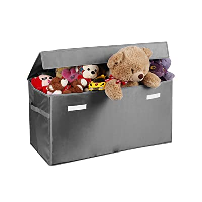 Prorighty Collapsible Toy Chest for Kids (XX-Large) Storage Basket w/Flip-Top Lid | Toys Organizer Bin for Bedrooms, Closets, Child Nursery | Store Stuffed Animals, Games, Clothes (Light-Grey): Toys & Games
