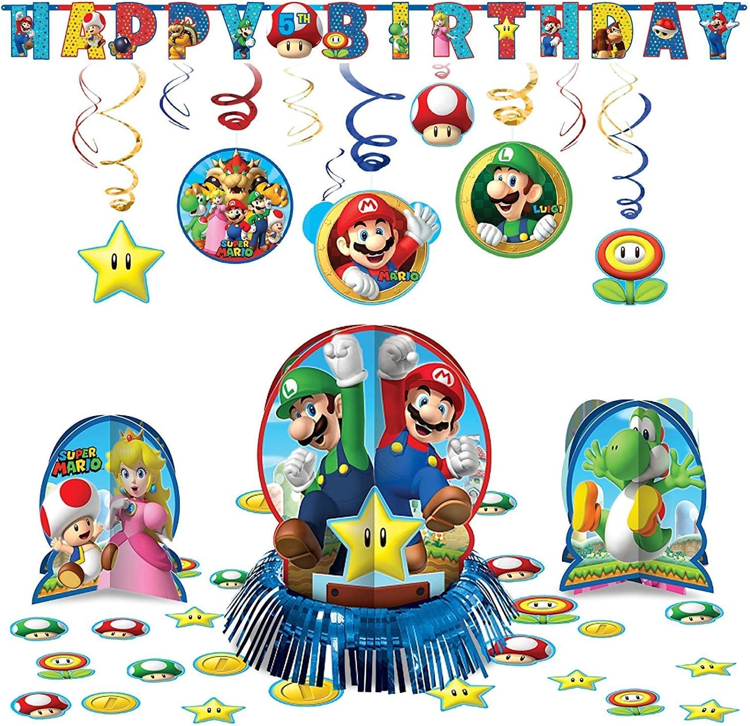 Amazon.com: Super Mario Bros Hanging Party Pack Kit de ...