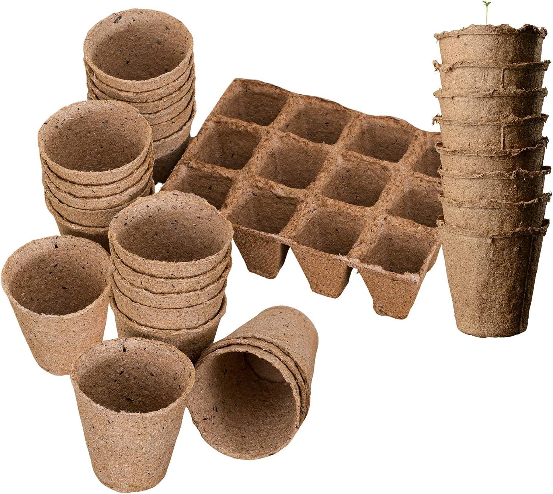 KULTIVERI Set de Macetas y Semilleros de Germinación Biodegradables: 10 semilleros Cuadrados de 12 cavidades y 50 macetas Redondas.