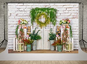Kate 7x5ft Spring Easter Garden Decor Photo Backdrops White Brick Wall and Wood Door Rabbit Photography Backgrounds Shooting