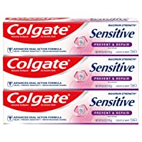 Colgate Sensitive Toothpaste with Whitening, Prevent and Repair - 6 ounce (3 Pack)