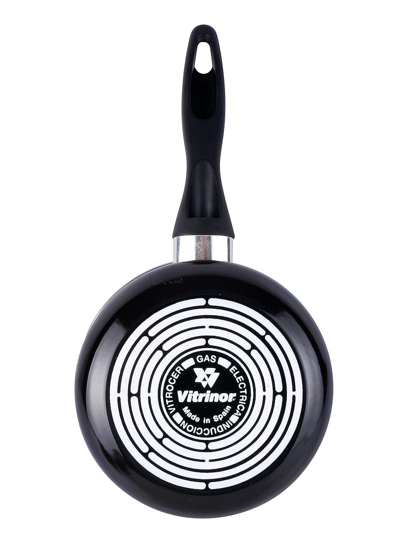 Magefesa 2422800 Black cazo 14 cm de Acero esmaltado, Antiadherente bicapa Reforzado, Color Negro Exterior. Apta para Todo Tipo de cocinas, ...