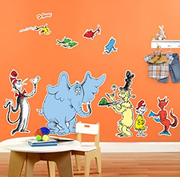 Amazon.com: Dr Seuss Cat in the Hat Room Decor - Giant Wall Decals ...