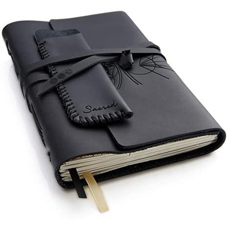Black Leather Journal Plain Paper Sketchbook Writing Travel Notebook Pen Holder Handmade Genuine Leather Notepad For Men Women To Write Or