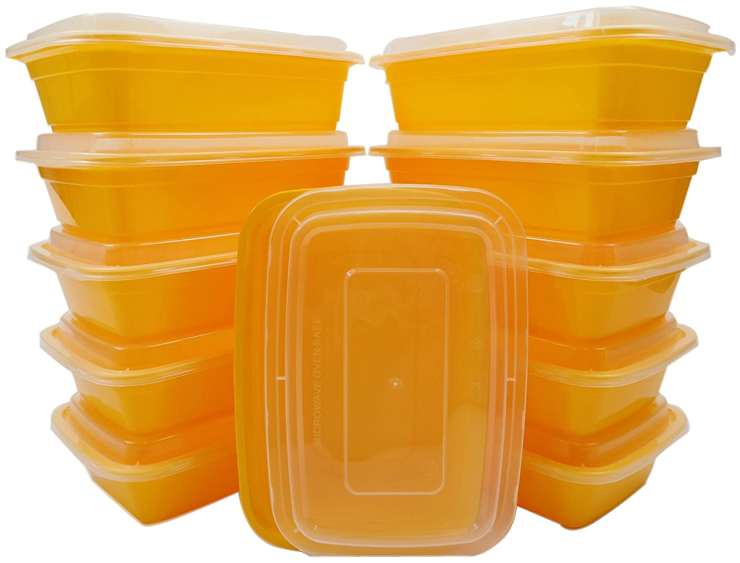 Table To Go 50-Pack Bento Lunch Boxes with Lids, 1 Compartment/ 34 oz, Yellow 612409787378