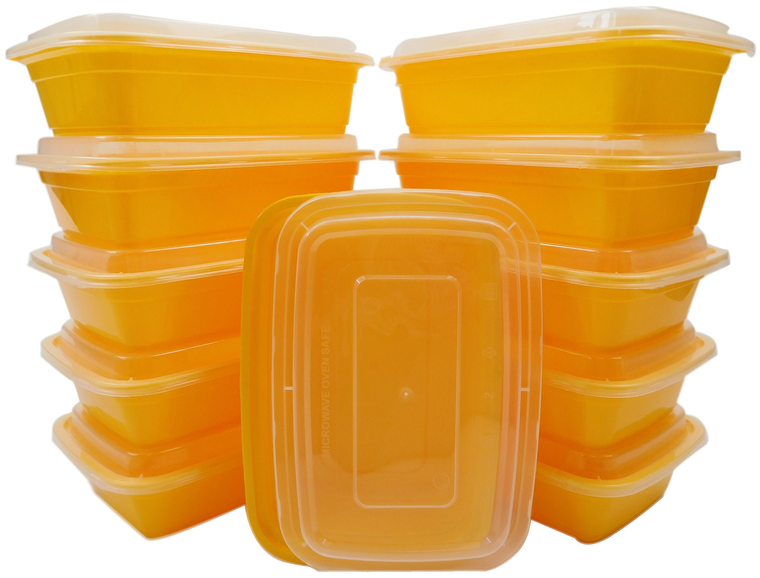 Table To Go 612409787491 300-Pack Bento Lunch Boxes with Lids (1 Compartment/ 34 oz.), Microwaveable, Dishwasher & Freezer Safe Meal Prep Containers, Yellow (Pack of 300)