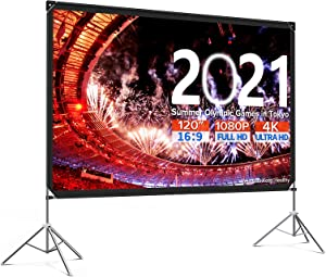 Projector Screen with Stand 120 inch Anti-Crease Outdoor Projection Screen 16:9 4K Portable Front Rear Movie Screen with Carry Bag for Home Theater Indoor Outside Use