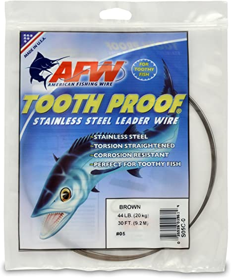 American Fishing Wire Tooth Proof Stainless Steel Single Strand Leader Wire Fishing Terminal Tackle at amazon
