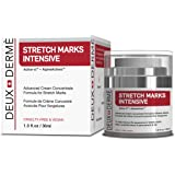 Deux Derme - Stretch Mark Intensive Cream, Cruelty Free Vegan w/ Vitamin E, Peptides, Shea, Cocoa Butter Stretch Marks for Pregnancy, Weight Gain, Bodybuilding (30ml)