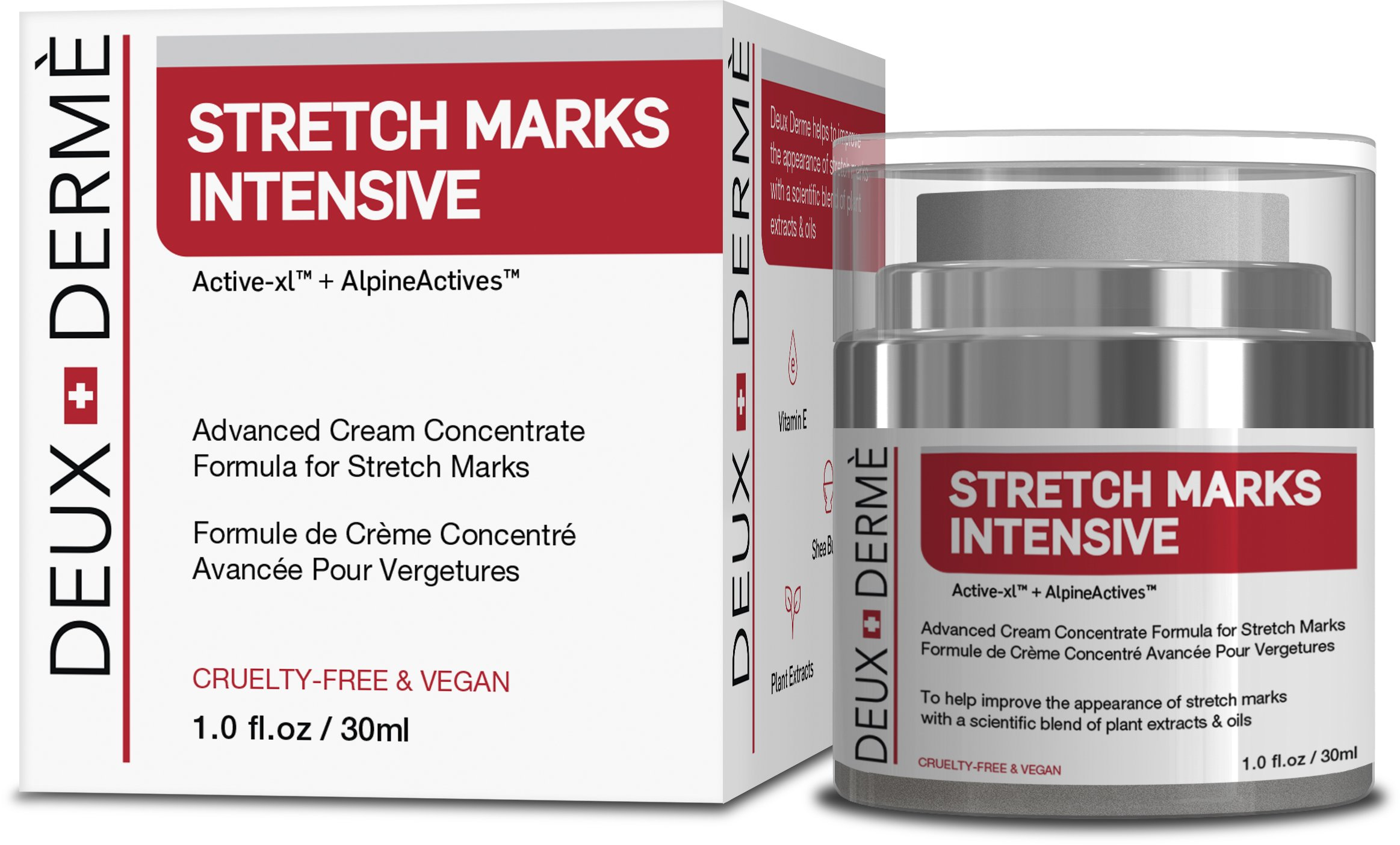Deux Derme - Stretch Mark Intensive Cream With Vitamin E, Shea, Cocoa Butter for Pregnancy, Weight Gain (30ml)