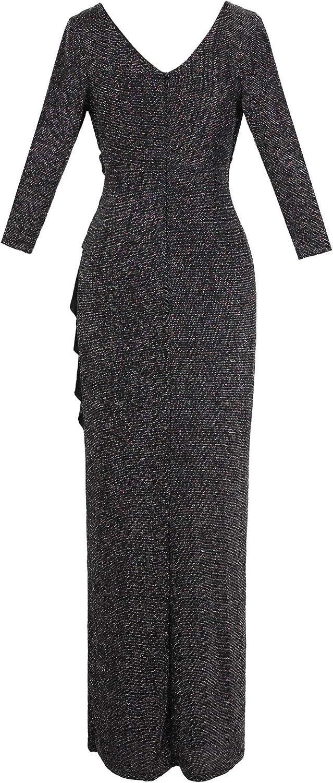 Angel-fashions Womens Pleated Evening Dress Ruffle