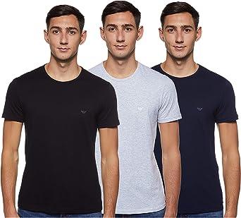 Emporio Armani Mens Cotton Crew Neck T-Shirt, 3-Pack, Grey/Navy/Black, X-Large: Amazon.es: Ropa y accesorios