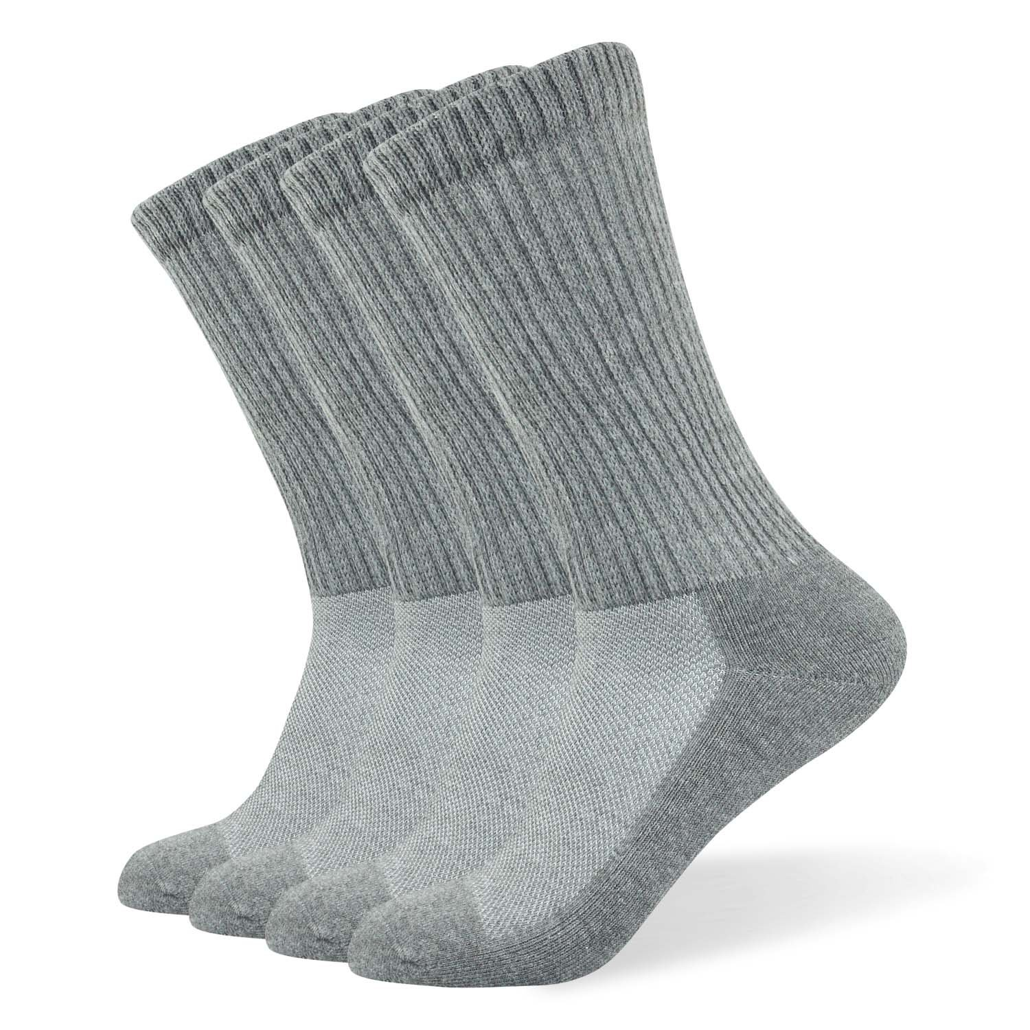 Well Knitting Diabetic Socks for Men & Women, Coolmax Medical Circulation Crew Mid Calf Socks with Seamless Toe, Non-Binding Top, and Padded Sole, 4 Pairs (L,Grey) by WELL KNITTING