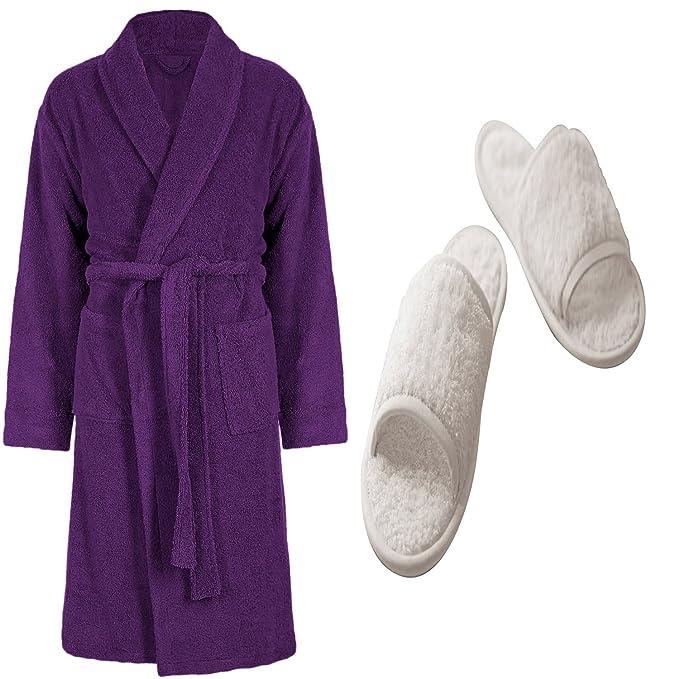 100% Egyptian Cotton Terry Towel Aubergine Bathrobe Dressing Gown ...