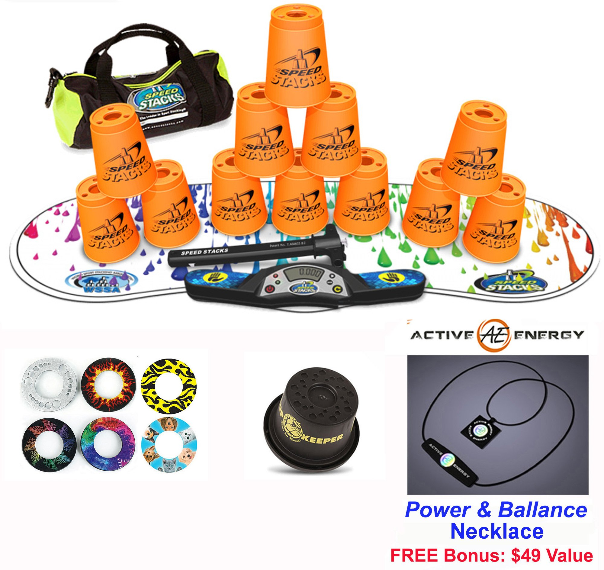 Speed Stacks Combo Set ''The Works'': 12 NEON ORANGE 4'' Cups, RAINBOW DROP Gen 3 Mat, G4 Pro Timer, Cup Keeper, Stem, Gear Bag + Active Energy Necklace