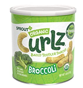 Sprout Organic Curlz Toddler Snacks, Broccoli, 1.48 Ounce Canister (6 Count) (Packaging May Vary)