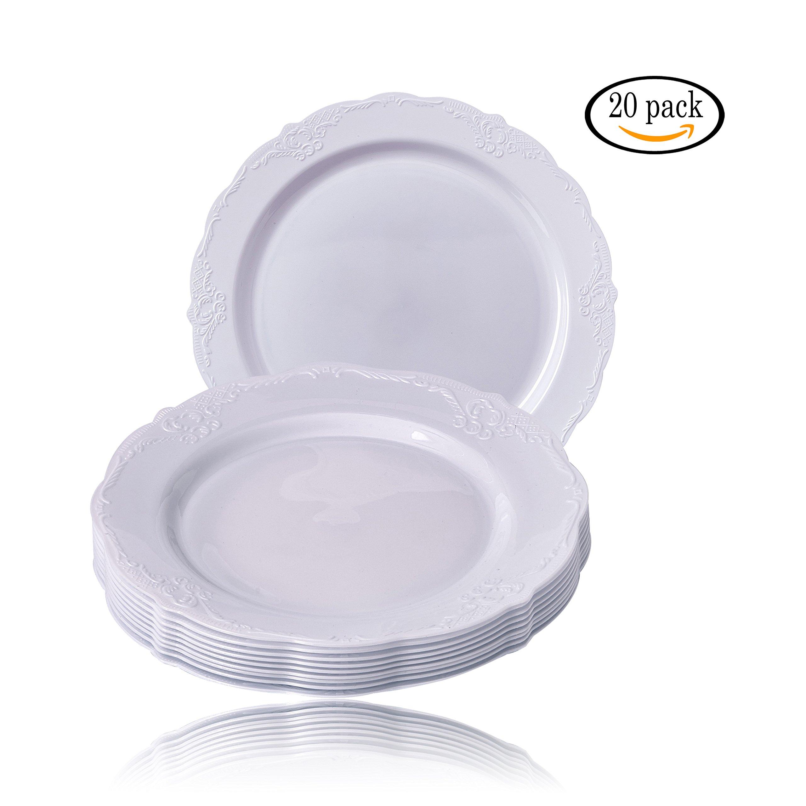 20 Premium Reusable Plastic Salad Plates | Vintage