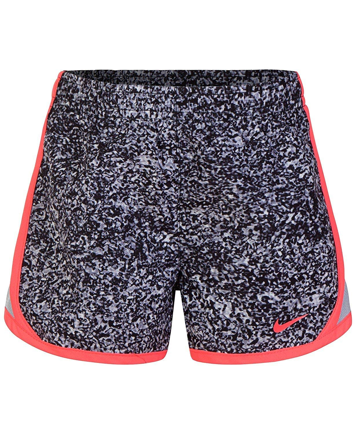 Nike Girl`s Dri-FIT Running Tempo Shorts (Wolf Grey(3MC856-174)/Pink, 4) by Nike