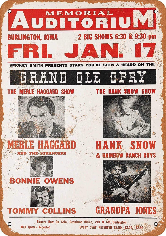 Tarfy 1967 Merle Haggard in Iowa Decoración de Pared Retro Vintage Estaño Sign Decoración Bar Cafe Afternoon Tea Barbacoa Tienda