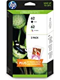 HP 62 Confezione da 2 Cartucce Originali di Inchiostro, 10 Fogli di Carta HP Advanced Photo Paper 13x18, Nero/Tricromia