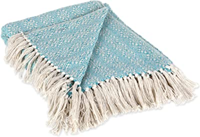 "DII Rustic Farmhouse Cotton Diamond Patterned Blanket Throw with Fringe For Chair, Couch, Picnic, Camping, Beach, & Everyday Use , 50 x 60"" - Aqua Diamond Stitch"