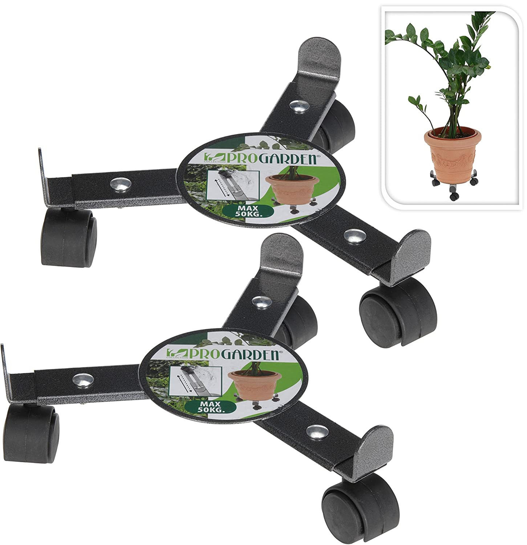 Set of 2 Metal Plant Flower Pot Box Holder Transporter Rack Carry Roller Stand on Wheels Excellent Houseware