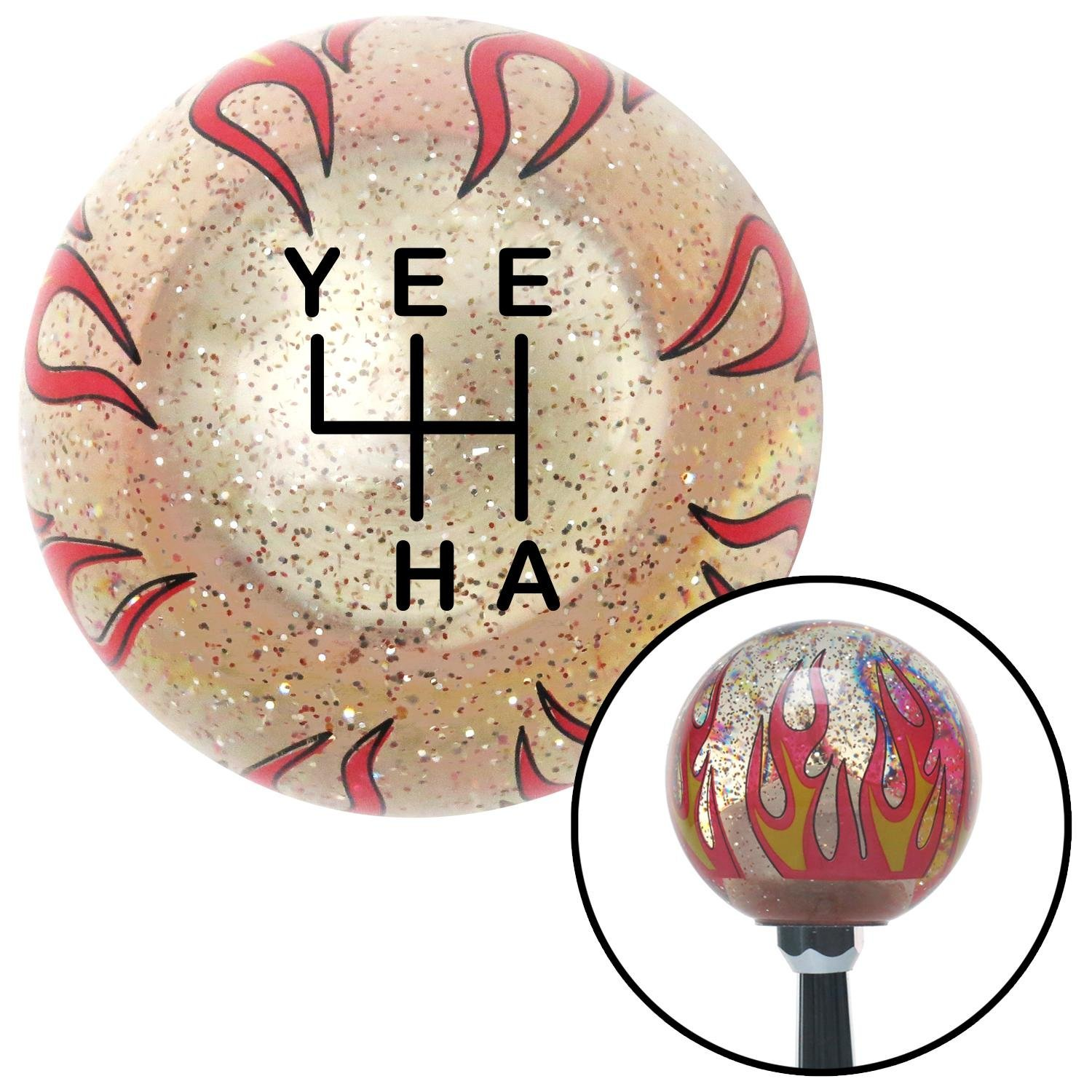 American Shifter 302228 Shift Knob Black YeeHa 4 Speed Clear Flame Metal Flake with M16 x 1.5 Insert