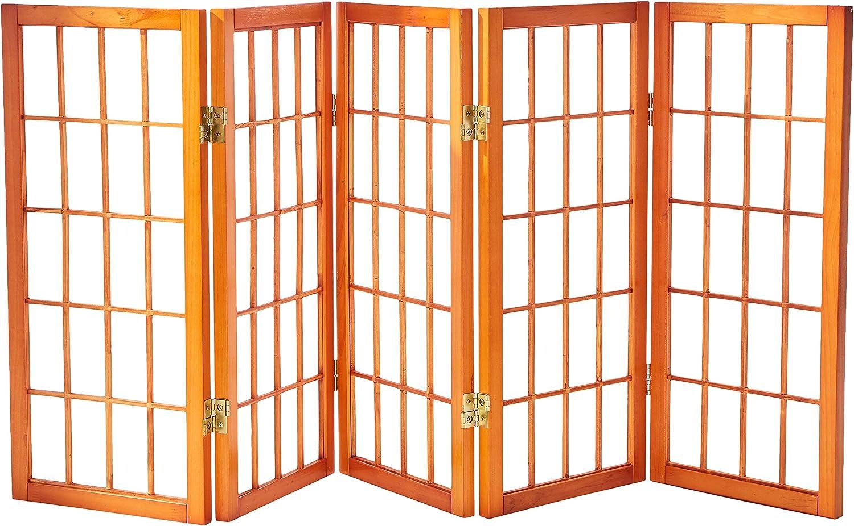 Oriental Furniture 2 ft. Tall Desktop Window Pane Shoji Screen - Honey - 5 Panels