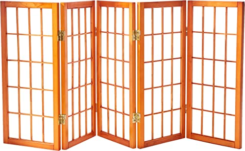 Oriental Furniture 2 ft. Tall Desktop Window Pane Shoji Screen – Honey – 5 Panels