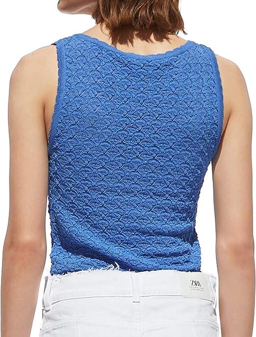 Zara 3859/008 - Camiseta para Mujer con Textura - Azul ...
