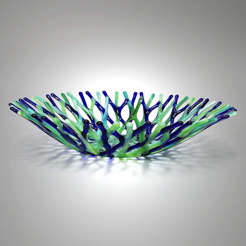 Lacy Glass Art Fruit Bowl in Cobalt Blue Mint Grass Green